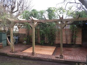 New floor freshly laid in covered garden area